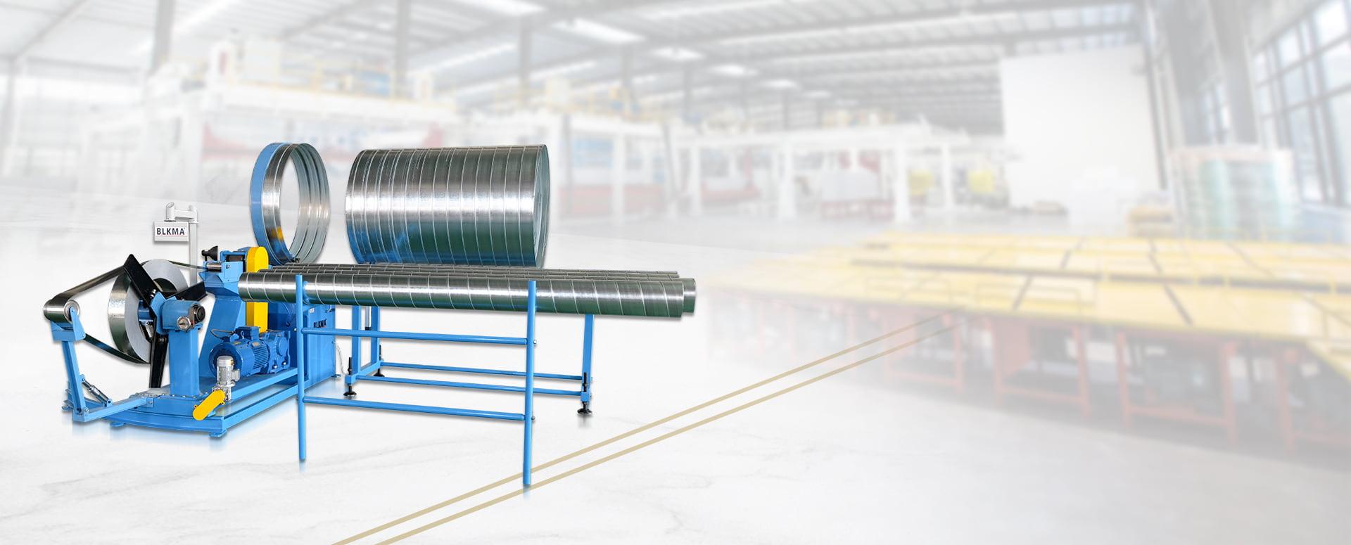 Conducto espiral redondo que forma la máquina